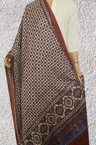 Fish Scales  Block Printed Modal Silk Dupatta