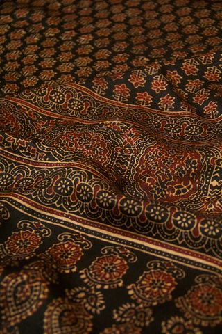 Black Small Flower Ajrak Block Printed Modal Silk Dupatta