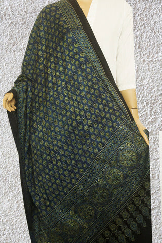 Blue Small Flower Ajrak Block Printed Modal Silk Dupatta