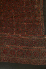 Black with Maroon Ajrak Block Printed Modal Silk Dupatta