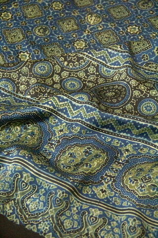 Blue with Light Yellow Ajrak Block Printed Modal Silk Dupatta