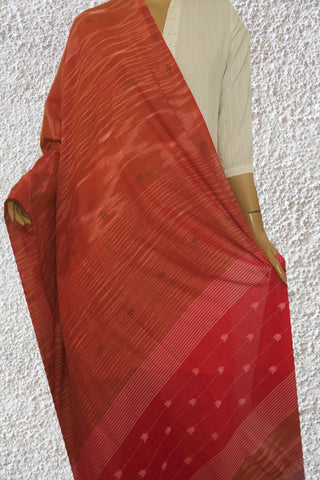Brownish Red Bengal Jamdani Fine Cotton Dupatta