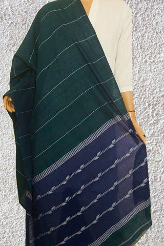 Dark Greenish Blue Bengal Jamdani Fine Cotton Dupatta
