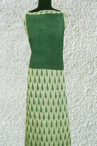 Soft Sanganeri Cotton Fabric with Pintuck Handwoven yoke