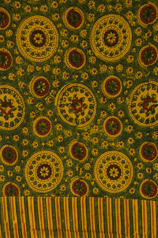 Green with Yellow Ajrak Malai Cotton Fabric with yoke