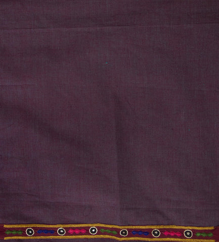 Purple Yarn Dyed Fabric with Kutch Hand Embroidered yoke