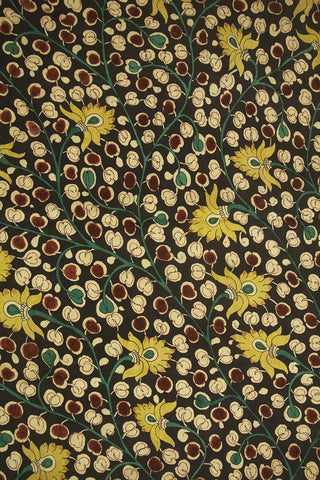 Dark Grey with yellow Painted Kalamkari Cotton Fabric