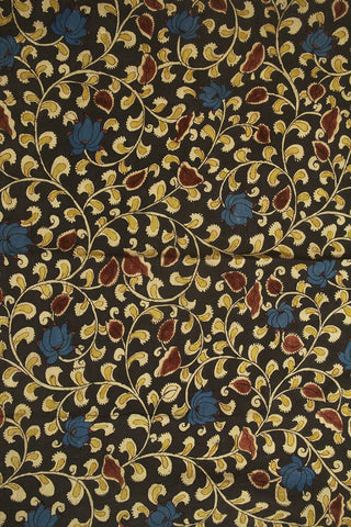 Black with yellow Floral Hand Painted Kalamkari Cotton Fabric
