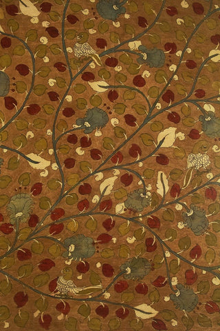Earthen Brown Floral Painted Kalamkari Cotton Fabric