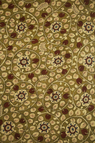 Light Green with Maroon Painted Kalamkari Cotton Fabric