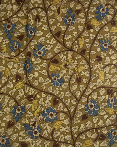 Greenish Brown with Blue Painted Kalamkari Cotton Fabric