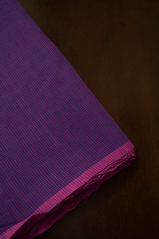 Purple with pink fine checks Cotton Fabric