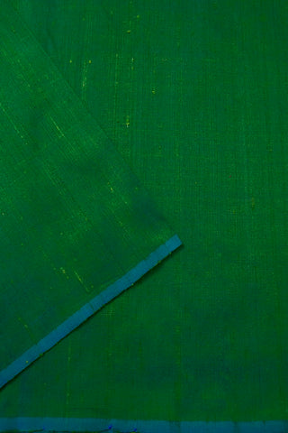 Double shade Bluish Green Handwoven Raw Silk Fabric