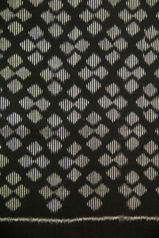4 Diamonds in Black Orissa Ikat Cotton Fabric