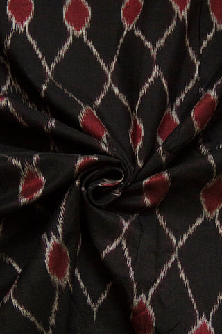 Black with Maroon Ikat Cotton Fabric