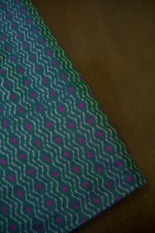 Subdued Double shade Greyish Green with pink Silk Ikat  Fabric