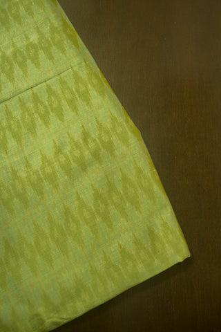 Shades of Pastel Green Handwoven Silk Ikat Fabric-1.2m
