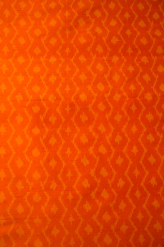 Subtle Design Orange Raw Silk Ikat Fabric