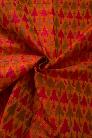 Double shade Triangles Handwoven Raw Silk Ikat Fabric