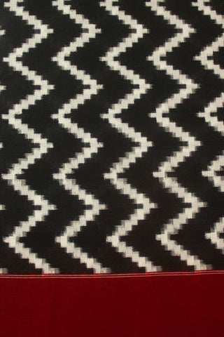 Black Zigzags Double Ikat Mercerized Cotton Fabric