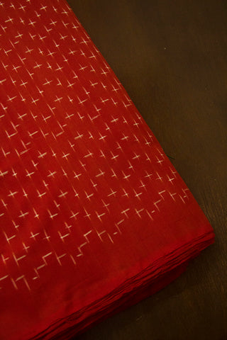 Rust Red Handwoven Ikat Mercerized Cotton Fabric