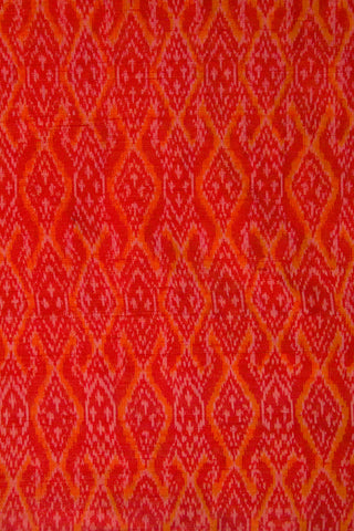 Red Diamond Handwoven Raw Silk Ikat Fabric