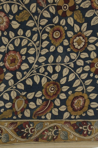 Indigo with Fenugreek Floral  Border Hand Painted Bordered Kalamkari Fabric