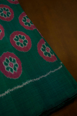 Dark Green with Pink Circles Handwoven Ikat Fabric
