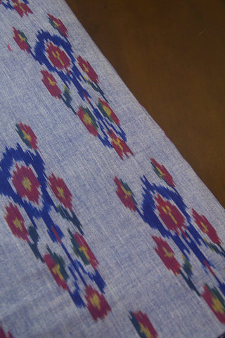 Double shade Blue Handwoven Ikat Fabric
