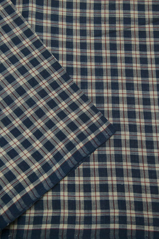 Blue with White Checks Natural Dyed Textured Khadi Fabric-1 m