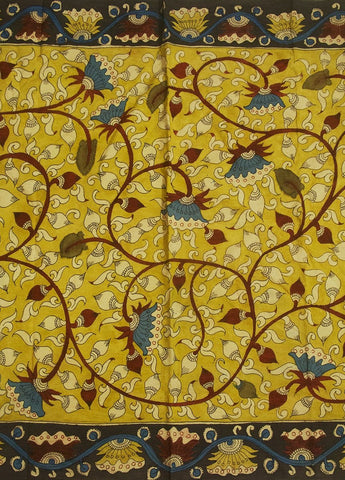Yellow Bordered Pen Kalamkari Cotton Fabric - 1.4m