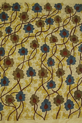 Floral Twines Painted Kalamkari Cotton Fabric- 2 m