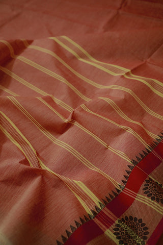 Double Shade Red with Pink Border Kanchi Cotton Saree