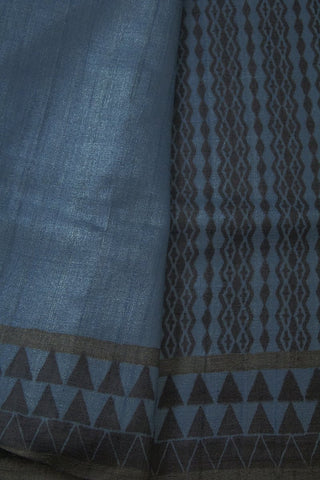 Blue Black Handspun Handwoven Tussar silk Saree