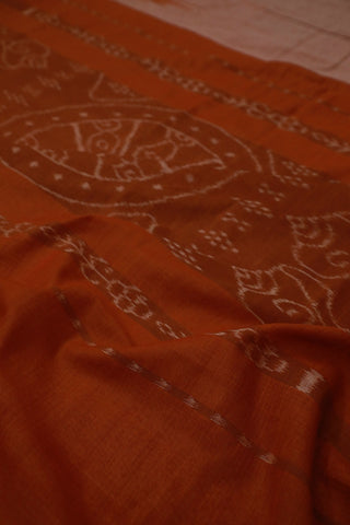 Double Shade Rust Brown with Temple Border Orissa Ikat Saree