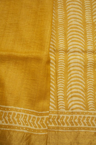 Yellow with Offwhite Zari Border Tussar silk Saree
