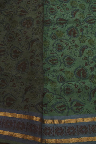 Blue Green Handwoven Block Printed Kalamkari Saree