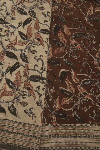 Maroon with Black Block Printed Kalamkari Saree