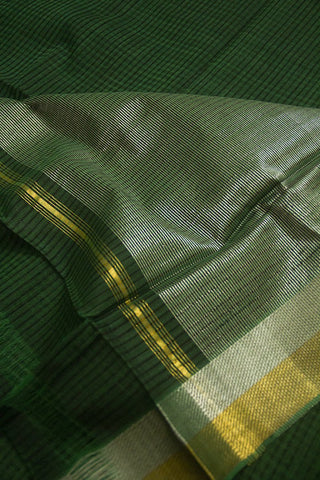 Green with Silver Gold Zari Border Mangalagiri Cotton Saree