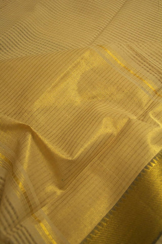 Beige with Grey Border Missing Checks Mangalagiri Cotton Saree