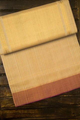Light Beige with Pink Border Missing Checks Mangalagiri Cotton Saree