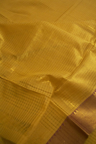 Mustard yellow Handwoven Missing Checks Mangalagiri Cotton Saree
