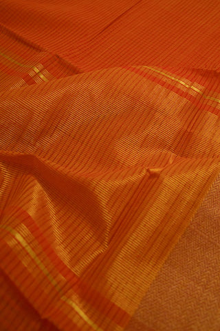 Yellowish Orange with Red Mangalagiri Cotton Saree