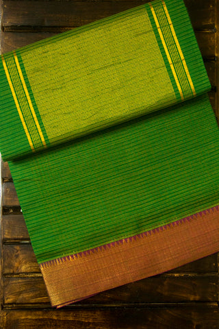 Yellowish Green with Purple Mangalagiri Cotton Saree