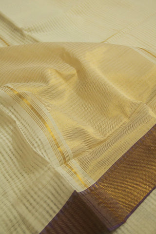 Off White with Violet Border Handwoven Missing Checks Mangalagiri Cotton Saree