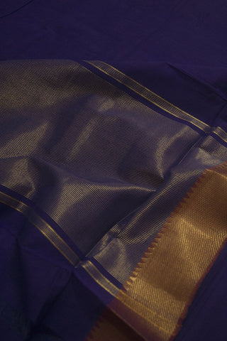 Blue with Maroon Solid weave Mangalagiri Cotton Saree
