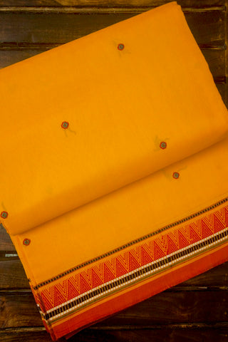 Yellow with Red Handwoven Cotton Saree