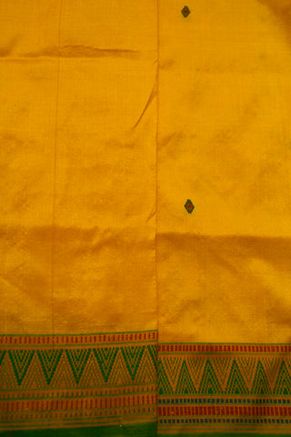 Bright Yellow with Green Pure Silk Tribal Saree