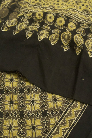 Flower Hand Block Printed Ajrak Cotton stole