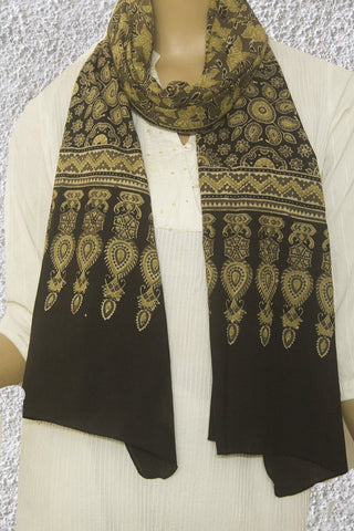 Light Yellow Floral Block Printed Ajrak Cotton Stole